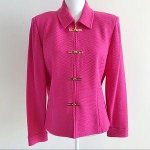 St John Fuchsia Pink Zip Up Jacket Coat 12